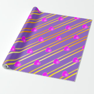 Pink Hearts and Gold Stripes Wrapping Paper