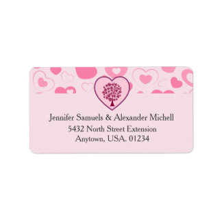 Pink Hearts and Heart Tree Wedding Label