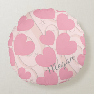 Pink Hearts and Ribbon Personalized Valentine Round Pillow