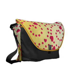 Pink Hearts and Swirls on Gold Courier Bags