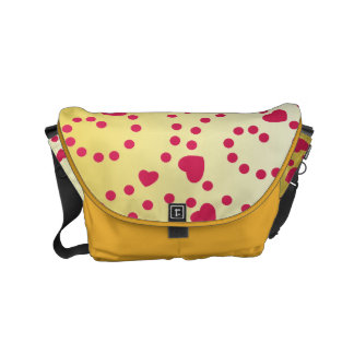 Pink Hearts and Swirls on Gold Courier Bag
