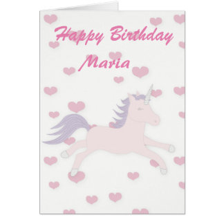 Pink Hearts and Unicorn. Card