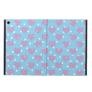 Pink hearts and white polka dots iPad air covers
