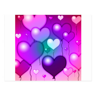 Pink Hearts Balloons Design Postcard