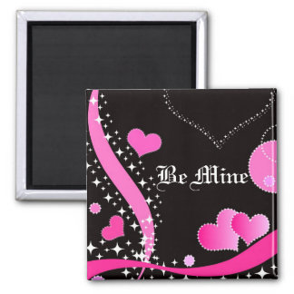 Pink Hearts Be Mine - Magnet