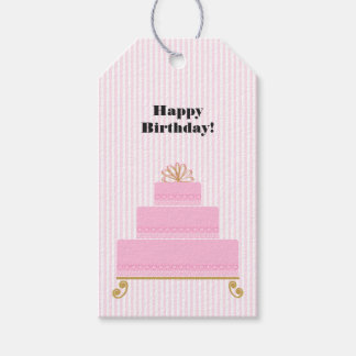 Pink Hearts Birthday Cake Gift Tags Pack Of Gift Tags