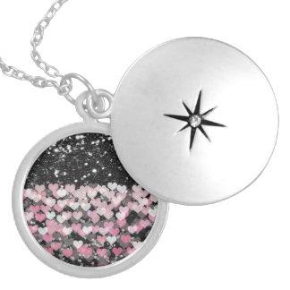 Pink Hearts Black Faux Glitter Round Locket Necklace