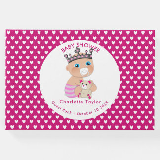 Pink Hearts Cute Baby Princess Shower Personalized Guest Book
