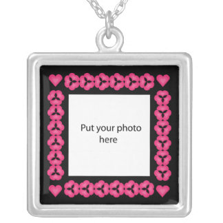 Pink Hearts Design Black Border Template Add Photo Jewelry