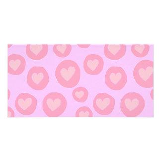 Pink hearts fun hand painted folk pop art pattern photo cards