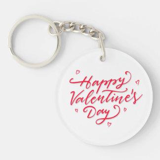 Pink Hearts Happy Valentine's Day Keychain