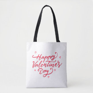 Pink Hearts Happy Valentine's Day Tote Bag