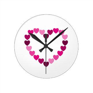 Pink hearts heart clock