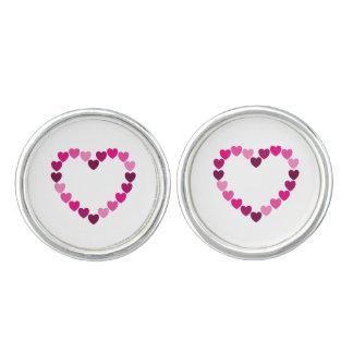 Pink hearts heart cufflinks