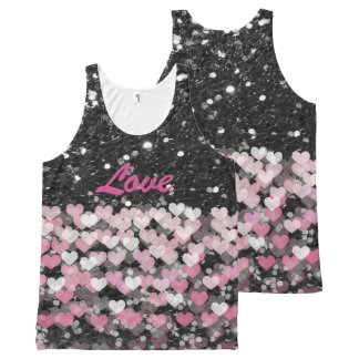 Pink Hearts Love Black Faux Glitter