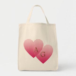 Pink hearts love personalized monogram beige tote bag
