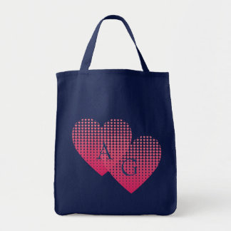 Pink hearts love personalized monogram navy blue tote bag