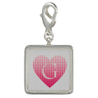 Pink hearts love personalized monogram photo charms