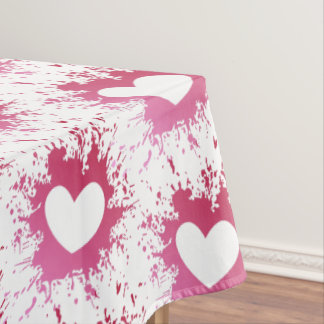 Pink Hearts Love Spatter Tablecloth