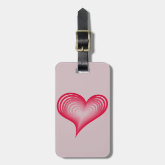 Pink hearts luggage tag