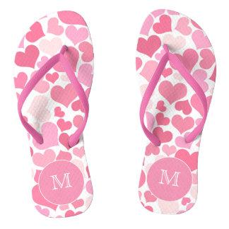 Pink Hearts Monogram Flip Flops