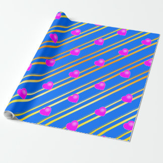 Pink Hearts on Blue Background Gold Stripes Wrapping Paper
