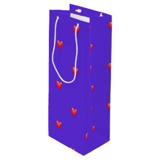 Pink Hearts on Purple | Valentine's Day Wine Gift Bag