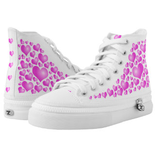 Pink Hearts on white background High Tops