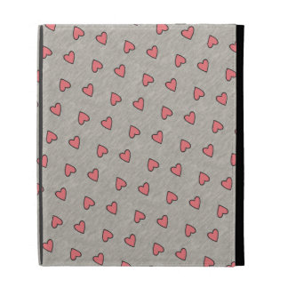 Pink Hearts over Gray Pattern iPad Case