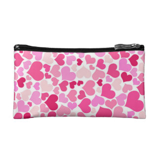 Pink hearts pattern cosmetic bag