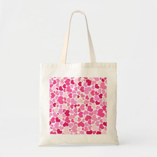 Pink hearts pattern tote bags