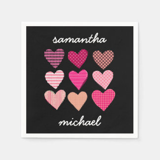 Pink Hearts Pattern Engagement Party Paper Napkin