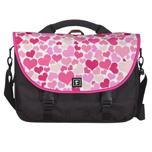 Pink hearts pattern commuter bags