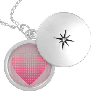 Pink hearts pattern mauve silver plated necklace