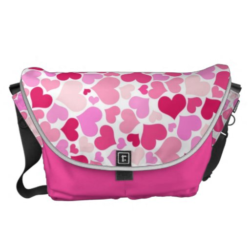 Pink hearts pattern courier bags