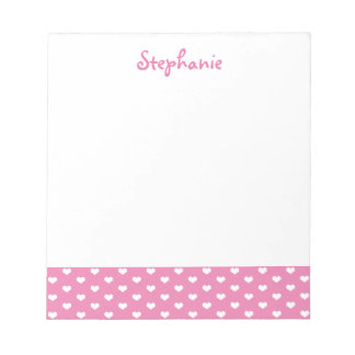 Pink Hearts Pattern Personalized Girly Name Notepad