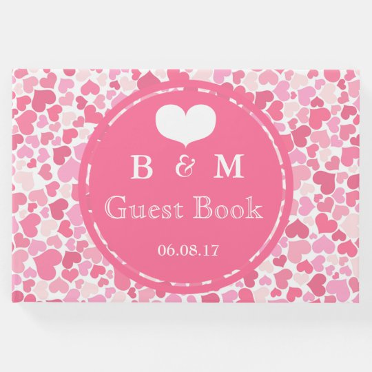 Pink Hearts Pattern Personalized Wedding Guestbook