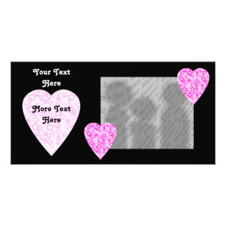 Pink Hearts. Patterned Heart Design. Personalized Photo Card