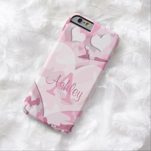 Pink Hearts Personalize Monogram Camouflage iPhone 6 Case