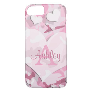 Pink Hearts Personalize Monogram Camouflage iPhone 7 Case
