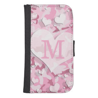 Pink Hearts Personalize Monogram Camouflage Phone Wallets
