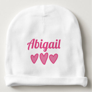 Pink Hearts Personalized Baby Beanie