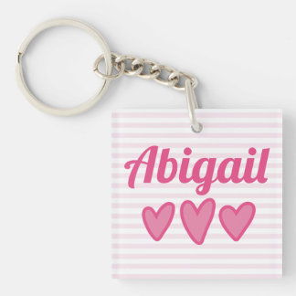 Pink Hearts Personalized Keychain