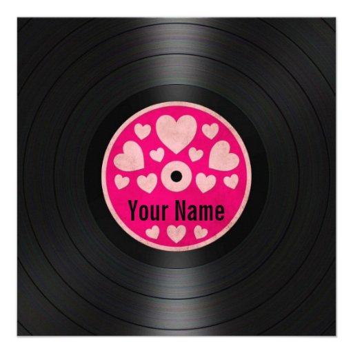 Pink Hearts Personalized Vinyl Record Album Personalized Invitations