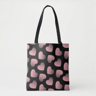 Pink hearts romantic pretty tote bag