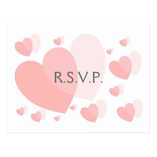 Pink Hearts RSVP Postcard Insert Postcard