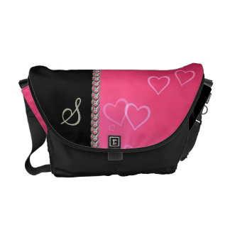 Pink hearts silver chain commuter bag