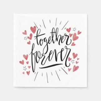 Pink Hearts Together Forever Wedding Bridal Shower Disposable Napkins