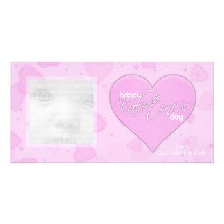 Pink Hearts Valentine Photo Cards