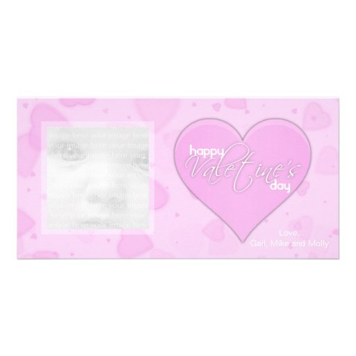 Pink Hearts Valentine Photo Cards